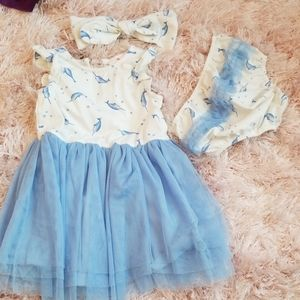Baby girl dress and matching accessories